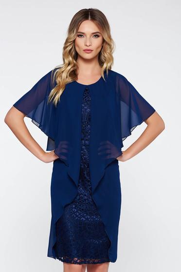 Rochie albastra-inchis de ocazie midi din dantela captusita pe interior cu suprapunere cu voal