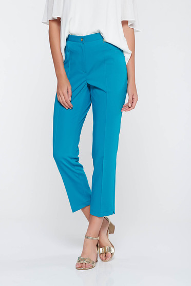 Pantaloni turcoaz office cu talie medie din stofa usor elastica cu un croi mulat