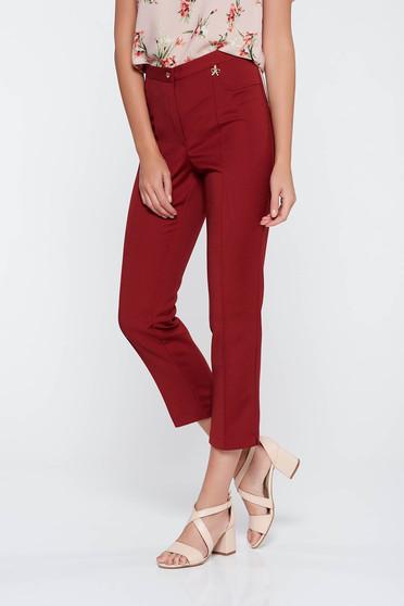 Pantaloni visinii office cu talie medie din stofa usor elastica