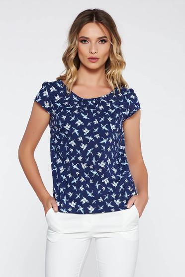 Bluza dama albastra-inchis casual cu croi larg din bumbac neelastic cu imprimeuri grafice