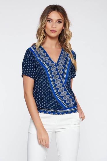 Bluza dama albastra-inchis eleganta cu croi larg din material vaporos cu decolteu in v