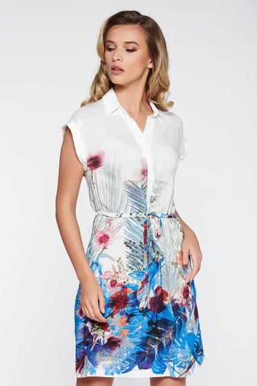 Rochie albastra de zi cu croi larg din material vaporos captusita pe interior cu snur in talie