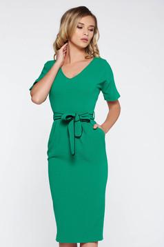 Rochie StarShinerS verde eleganta midi tip creion din material elastic cu buzunare accesorizata cu cordon
