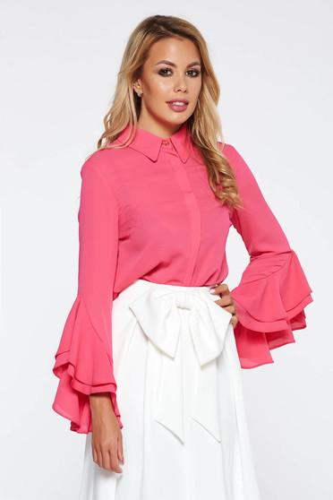 Bluza dama StarShinerS roz eleganta cu croi larg din voal cu volanase la maneca
