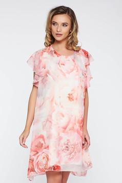Rochie rosa eleganta cu croi larg din material vaporos si transparent captusita pe interior cu imprimeuri florale