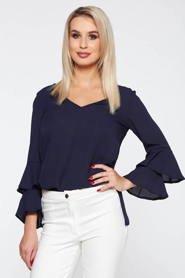 Bluza dama StarShinerS albastra-inchis eleganta cu croi larg cu decolteu in v cu volanase la maneca