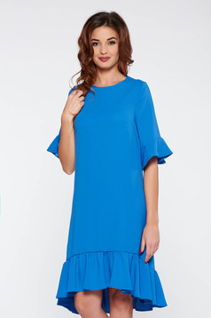 Rochie StarShinerS albastra de zi cu croi larg din stofa usor elastica cu volanase