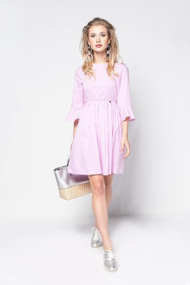 Rochie PrettyGirl rosa de zi in clos din bumbac cu maneci clopot si elastic in talie
