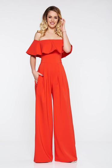 Salopeta LaDonna rosie de ocazie pe umeri din stofa usor elastica cu un croi evazat