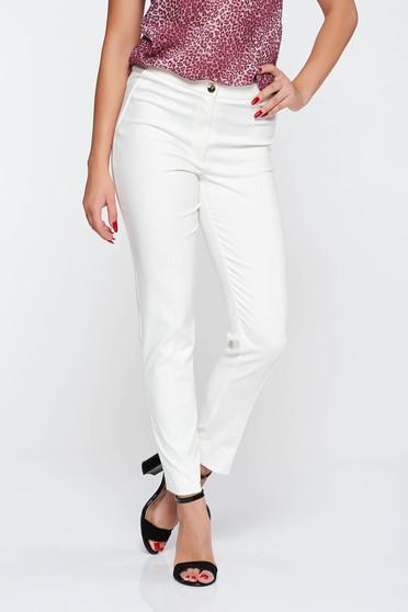 Pantaloni LaDonna albe conici eleganti cu talie medie bumbac usor elastic