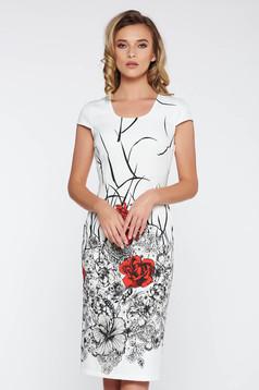 Rochie alba office midi cu un croi mulat din material usor elastic cu imprimeuri florale