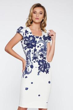 Rochie alba office midi tip creion din material subtire usor elastic cu imprimeuri florale