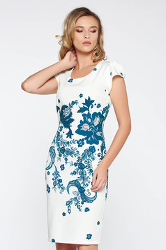 Rochie alba office tip creion din material usor elastic cu imprimeuri florale cu maneci scurte