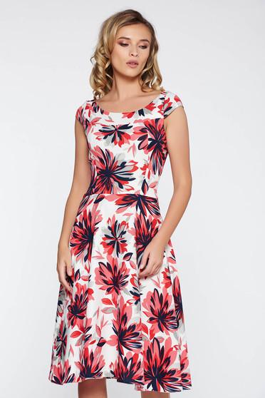Rochie alba eleganta midi in clos din material neelastic cu imprimeuri florale