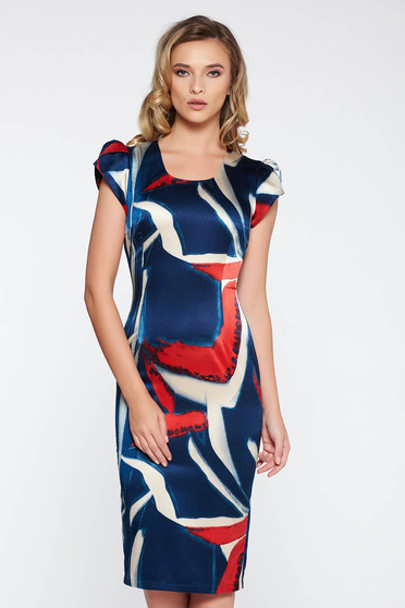 Rochie albastra-inchis eleganta midi tip creion din material satinat cu imprimeu grafic