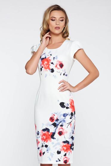 Rochie alba eleganta midi tip creion din material moale usor elastic cu imprimeuri florale