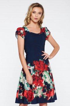 Rochie albastra-inchis eleganta midi in clos din material fin la atingere captusita pe interior cu imprimeuri florale