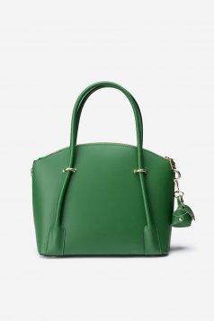 Geanta dama verde office din piele naturala cu maner lung reglabil