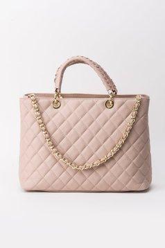 Geanta dama rosa office din piele naturala cu maner lung tip lantisor din material matlasat