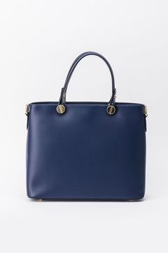 Geanta dama albastra-inchis office din piele naturala