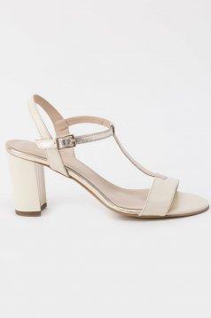 Sandale nude elegante din piele naturala cu toc inalt si gros cu barete subtiri