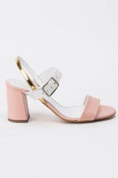 Sandale rosa elegante din piele naturala cu toc gros cu barete subtiri