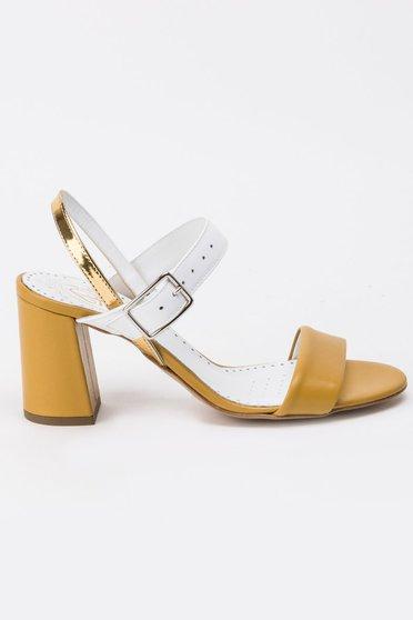 Sandale galbene elegante din piele naturala cu toc gros cu barete subtiri