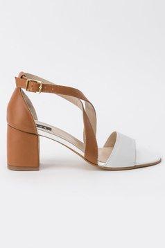 Sandale maro office din piele naturala cu toc gros