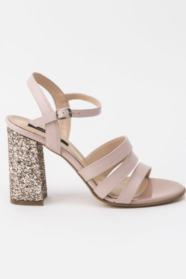 Sandale rosa de ocazie din piele naturala cu toc gros cu aplicatii stralucitoare