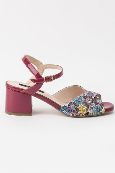 Sandale mov elegante din piele naturala cu toc gros si barete subtiri