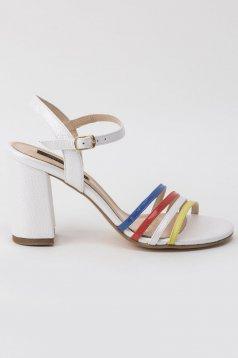 Sandale albe elegante din piele naturala cu toc inalt gros si barete subtiri