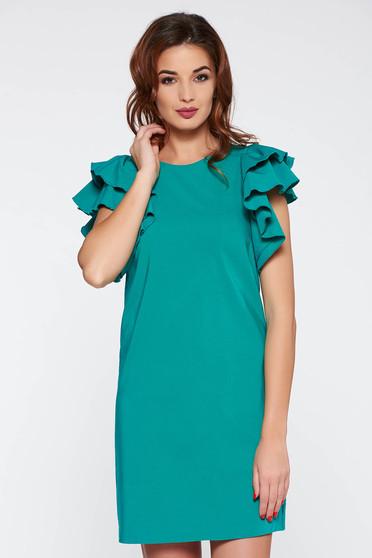 Rochie PrettyGirl verde de zi cu croi in A din material usor elastic captusita pe interior cu volanase la maneca