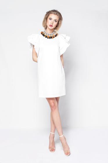 Rochie PrettyGirl alba de zi cu croi in A din material usor elastic captusita pe interior cu volanase la maneca