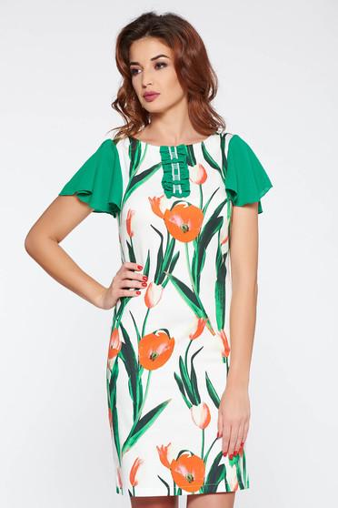 Rochie LaDonna verde eleganta din bumbac elastic cu imprimeuri florale