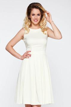 Rochie LaDonna alba eleganta croi in clos bumbac elastic satinat