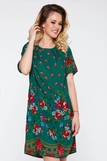 Rochie verde eleganta cu croi larg cu imprimeuri florale material subtire
