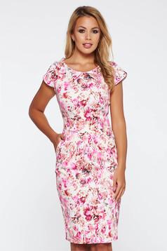 Rochie rosa de zi tip creion bumbac usor elastic cu imprimeuri florale