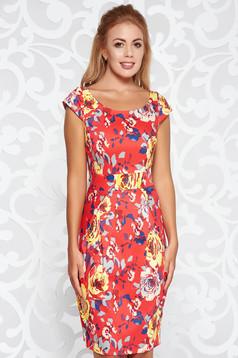 Rochie rosie eleganta de zi cu un croi mulat din bumbac cu imprimeuri florale
