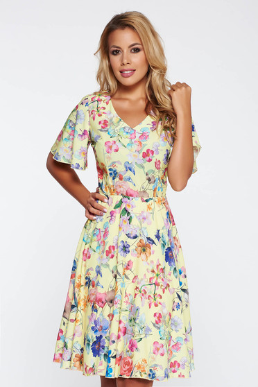 Rochie galbena eleganta de zi in clos cu imprimeuri florale cu elastic in talie