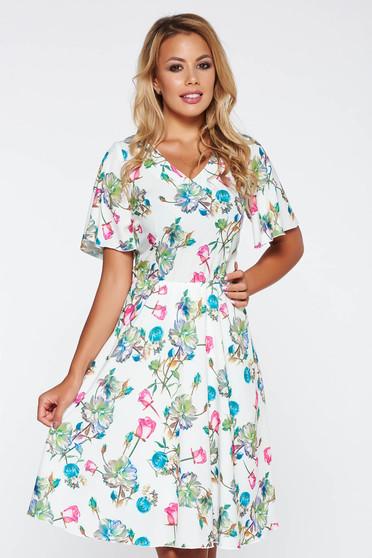 Rochie alba eleganta de zi in clos cu imprimeuri florale cu elastic in talie