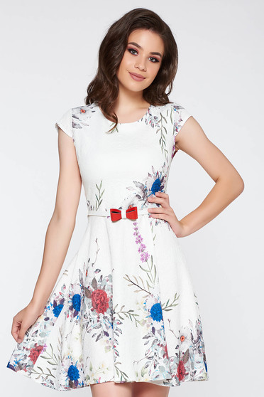 Rochie albastra de zi in clos bumbac usor elastic accesorizata cu cordon