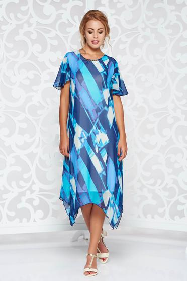Rochie albastra eleganta asimetrica cu croi larg din material vaporos si transparent