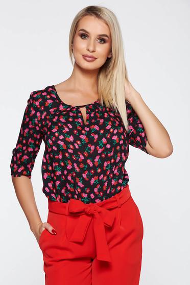 Bluza dama neagra casual cu croi larg din material vaporos cu imprimeuri florale