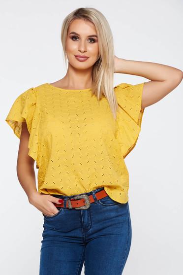Bluza dama mustarie casual cu croi larg din bumbac neelastic