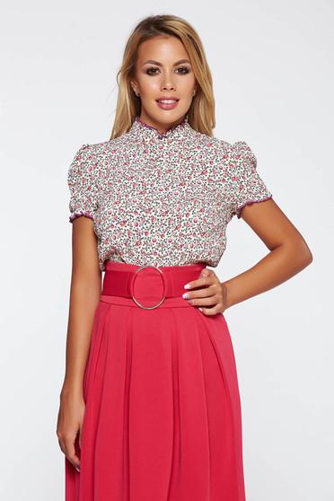 Bluza dama mov eleganta cu croi larg material subtire cu imprimeuri florale