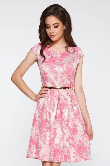 Rochie roz de ocazie in clos din jaquard captusita pe interior accesorizata cu cordon
