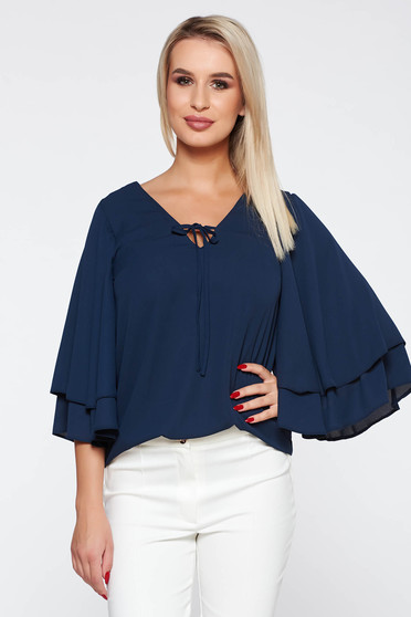 Bluza dama StarShinerS albastra-inchis eleganta cu croi larg din material neelastic material subtire cu decolteu in v