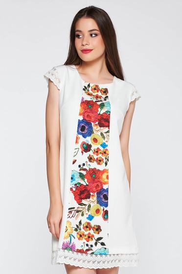 Rochie alba eleganta cu croi in a cu imprimeuri florale din stofa usor elastica cu aplicatii de dantela