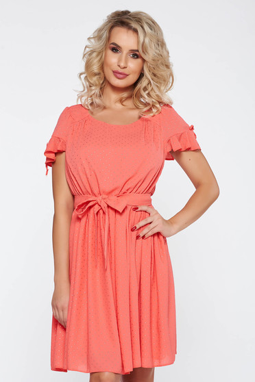 Rochie corai eleganta cu maneci decupate croi in clos cu elastic in talie