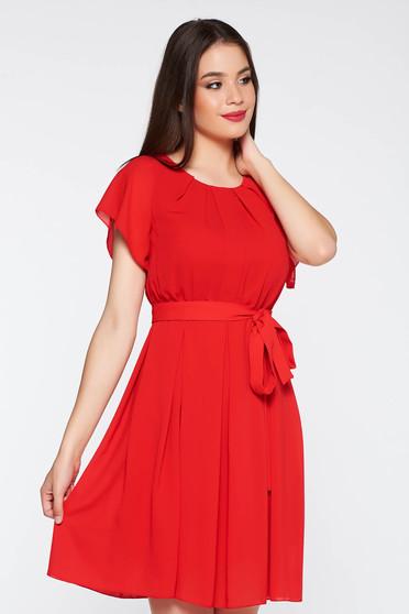 Rochie rosie eleganta din material vaporos si transparent cu elastic in talie